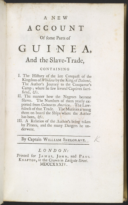A New Account Of Some Parts Of Guinea & The Slave Trade -Title page
